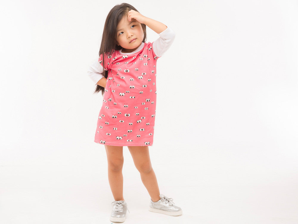 Organic Cotton pink eyeball high-low dress