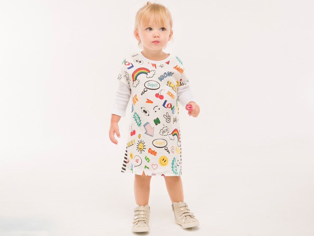 Organic Cotton cartoon/stripe high-low dress