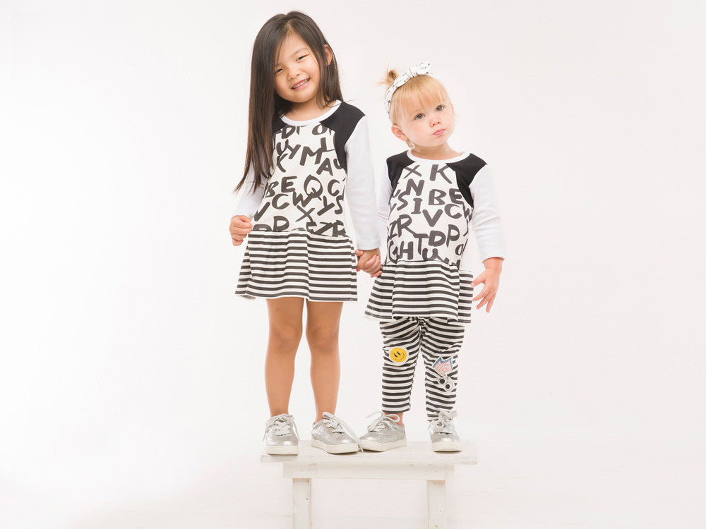 Organic Cotton M/M dress with black alphabet