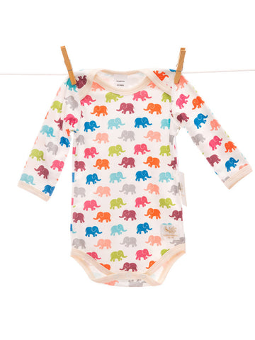 Organic bright elephant bodysuit handmade in USA