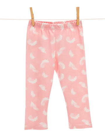 Organic soft pink feather leggings, baby pants, LE235