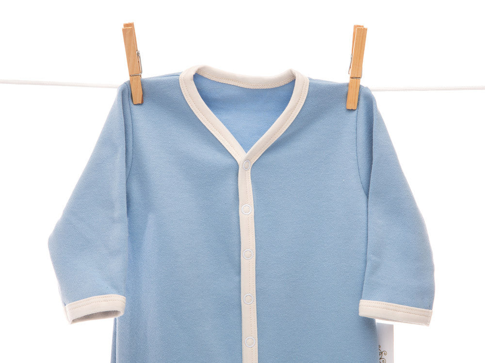 Organic blue footsie coverall