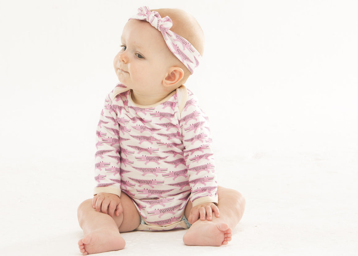 Organic pink crocodile bodysuit handmade in USA