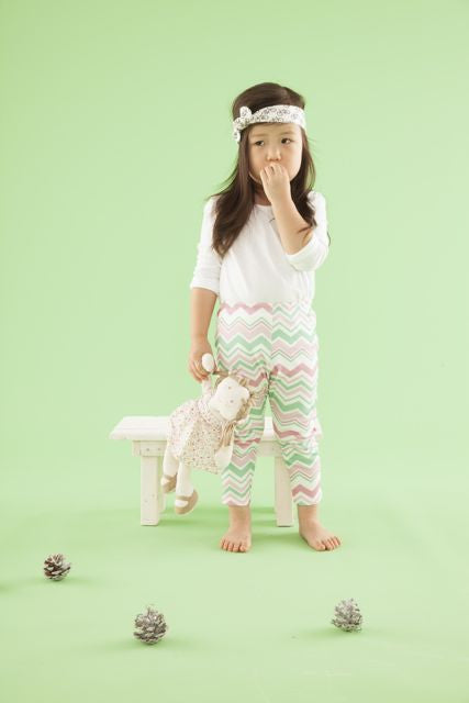 Organic Toddler Leggings, Green/Pink Chevron LE158