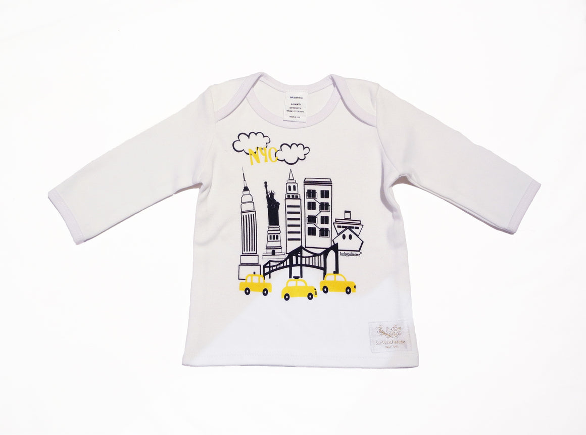 Organic white NYC long sleeve t-shirt