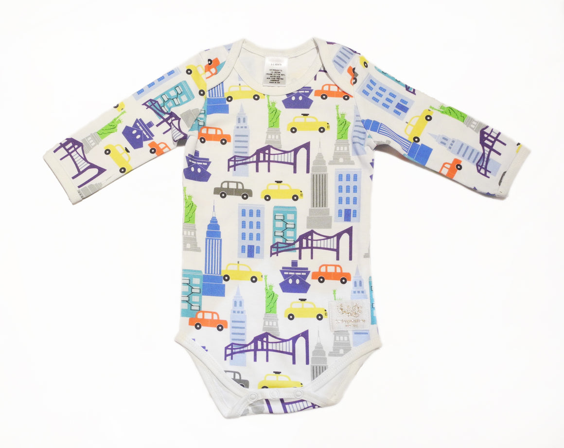 Organic NYC blue multi long sleeve bodysuit