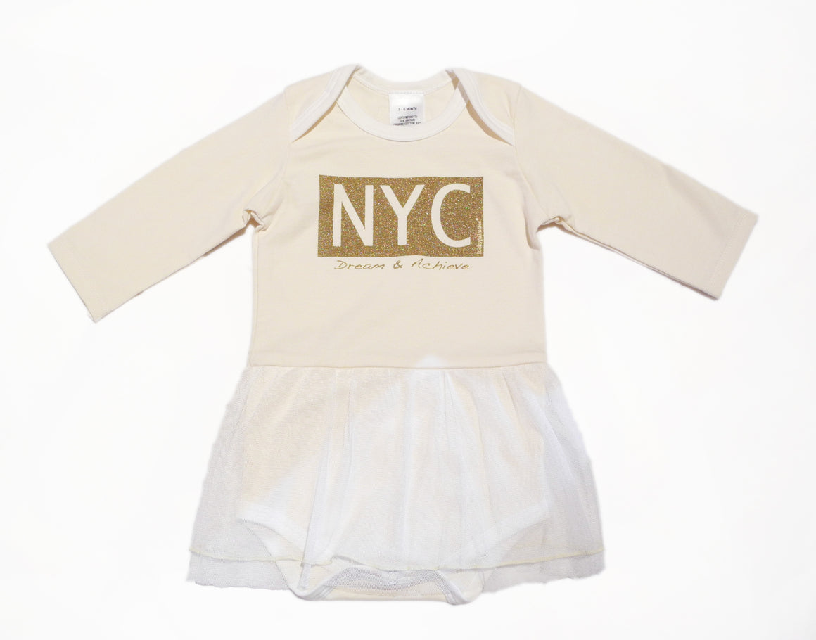 Organic NYC gold metallic dream & achieve tutu dress bodysuit