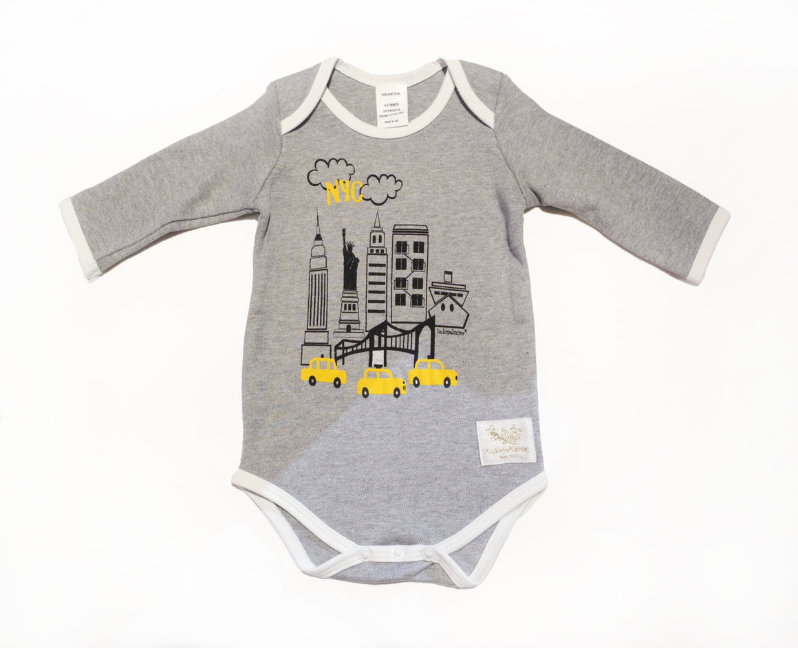 Organic grey NYC long sleeve bodysuit