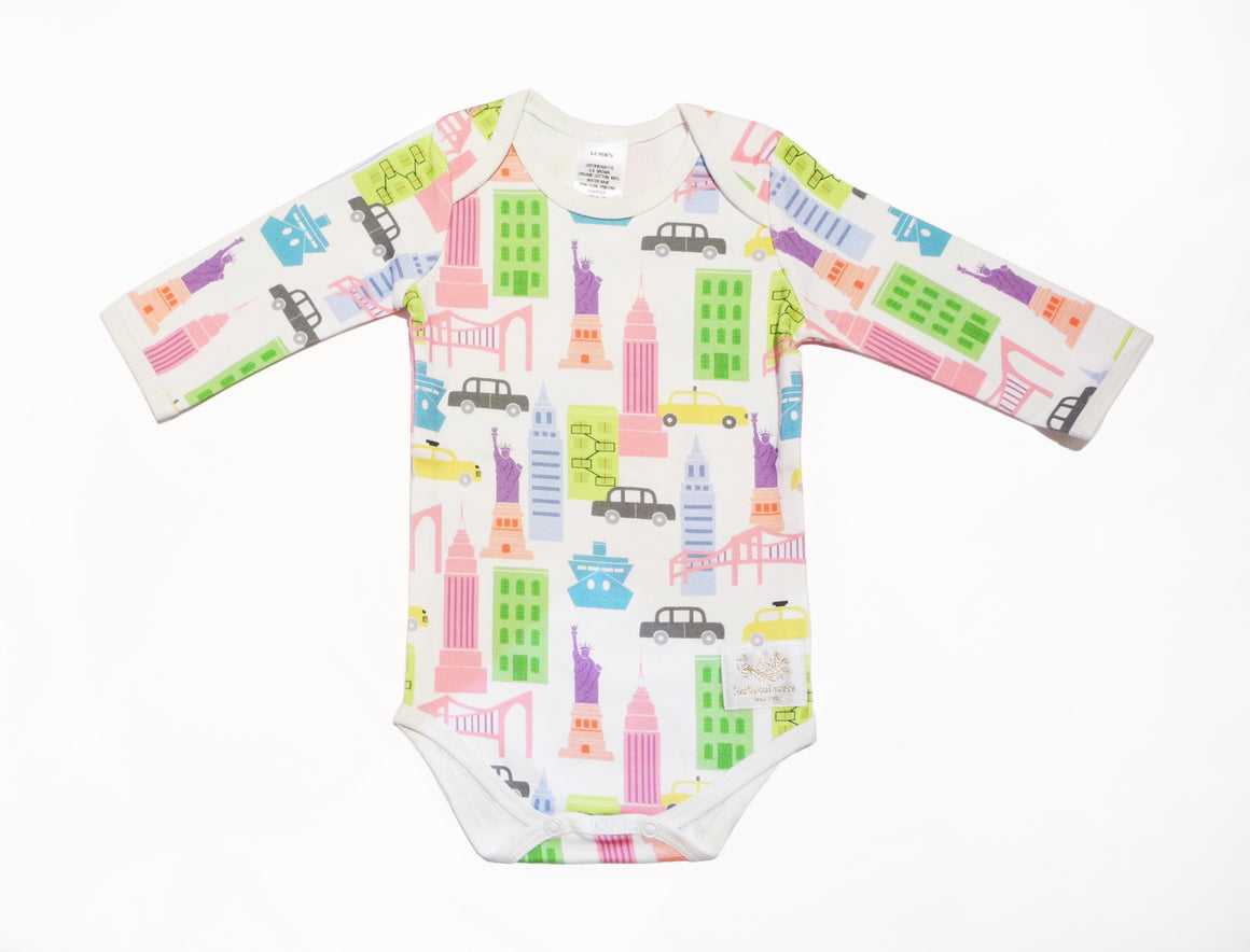 Organic NYC pink multi long sleeve bodysuit