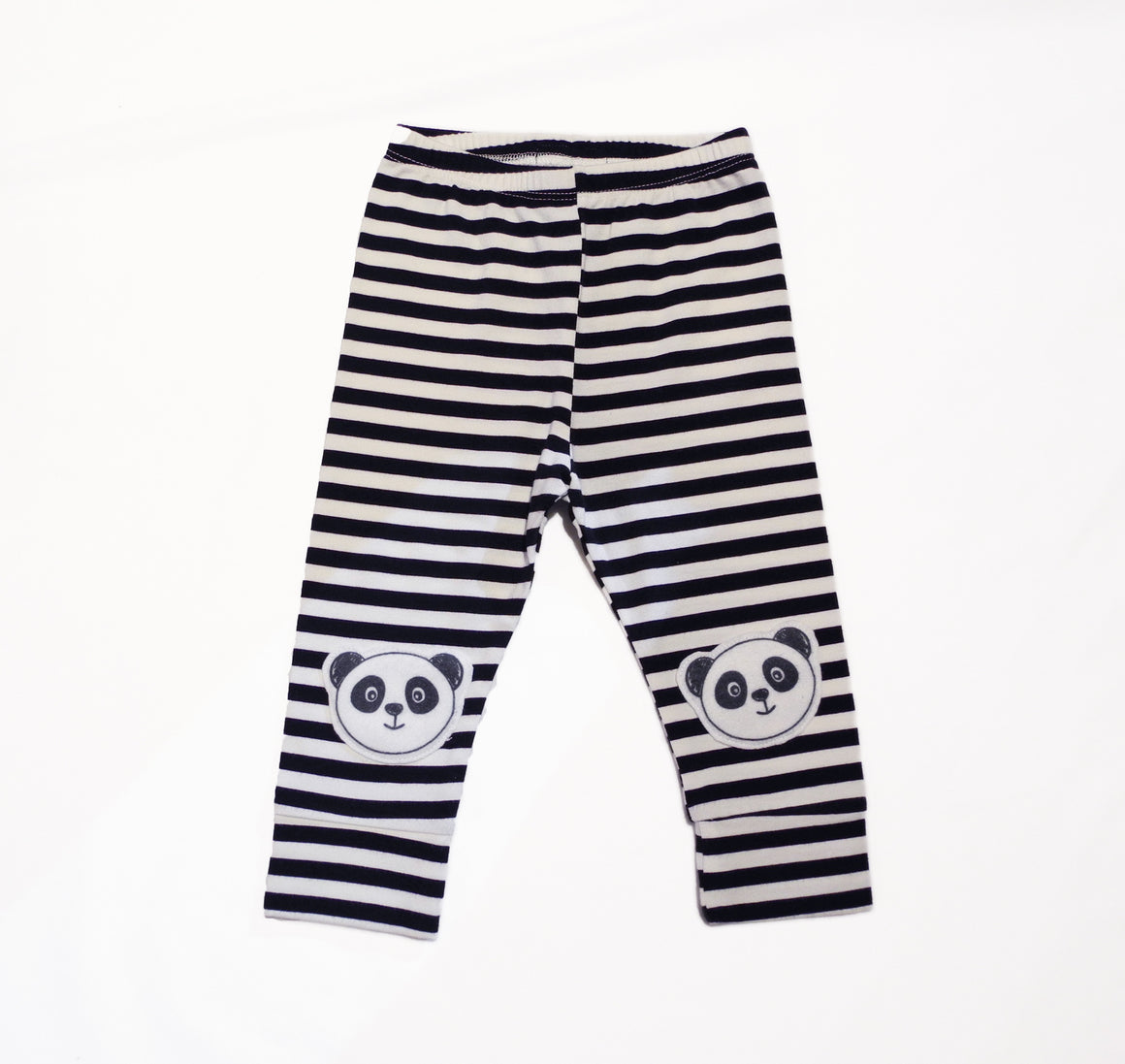 stripe pants with panda patches