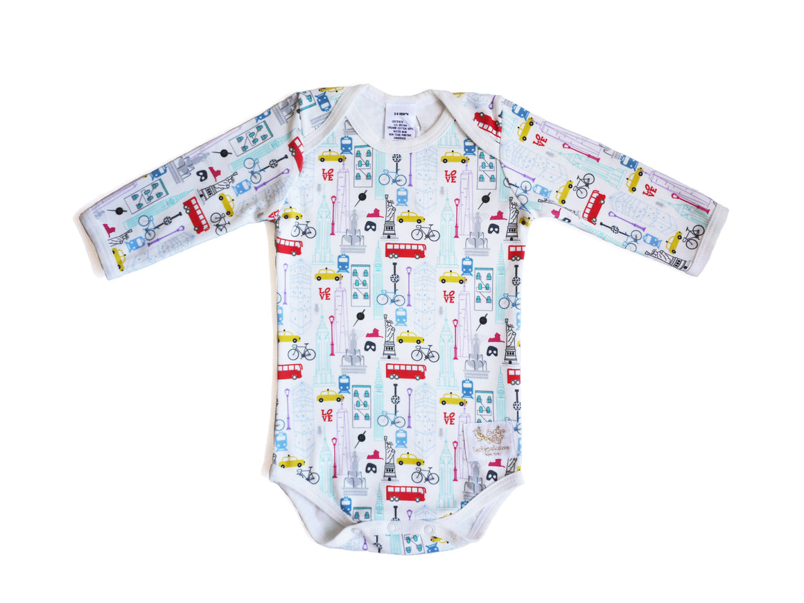 Organic NYC destination multi long sleeve bodysuit
