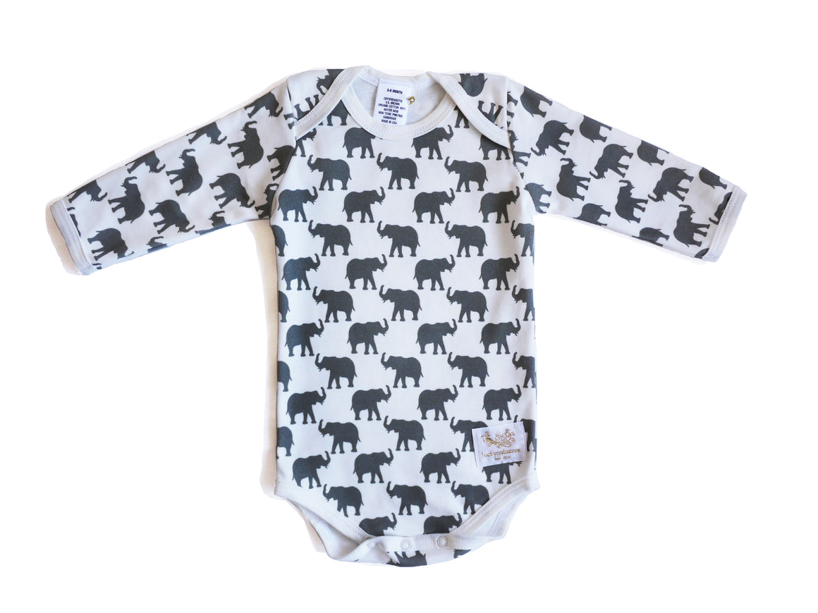 Organic grey elephant long sleeve bodysuit