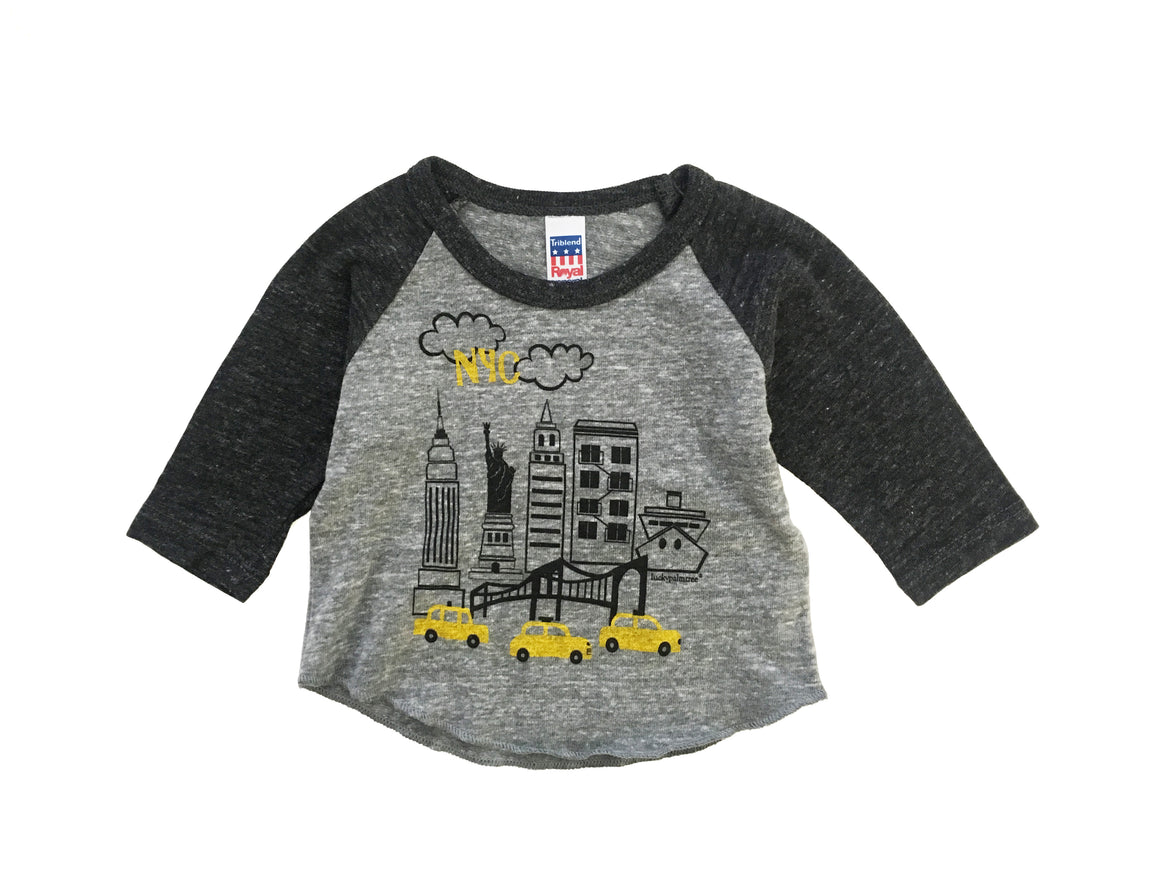 eco grey NYC baseball tee