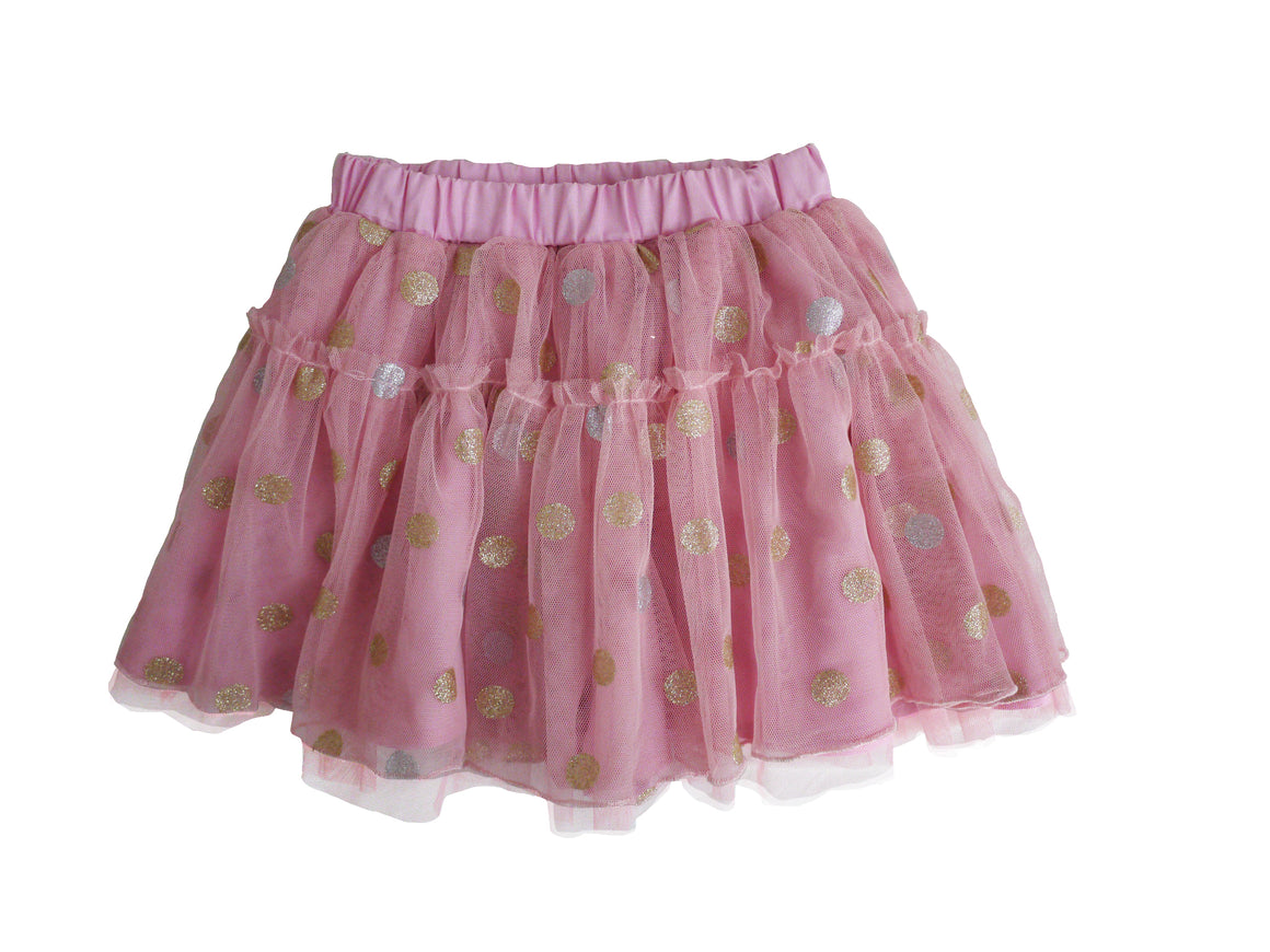 pink gold dot tutu with cotton shorts lining