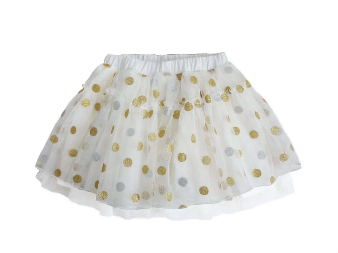 Off white/gold dot tutu with cotton shorts lining