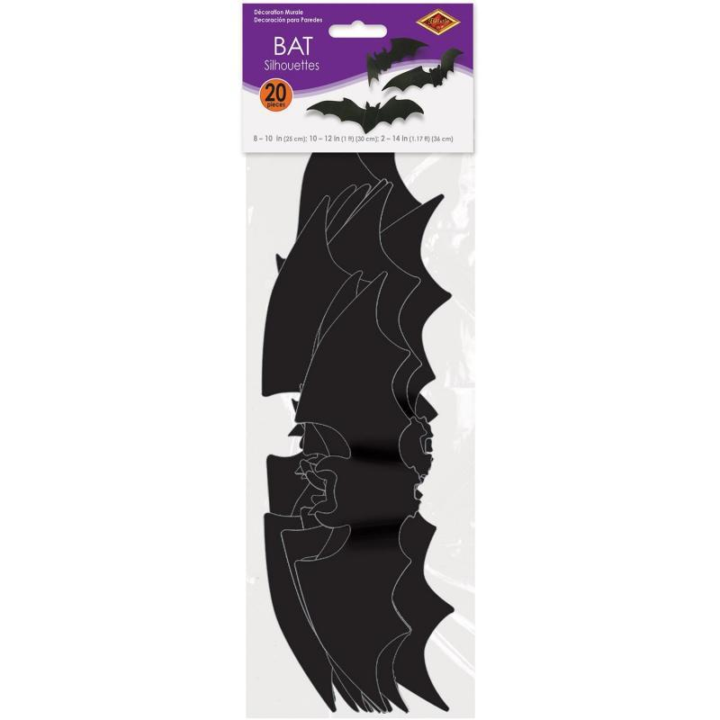 Bat Silhouettes (20/Pkg) by Beistle - Halloween Theme Decorations