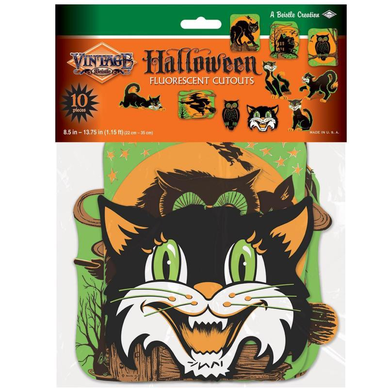 Vintage Halloween Fluorescent Cutouts (10/Pkg) by Beistle - Halloween Theme Decorations