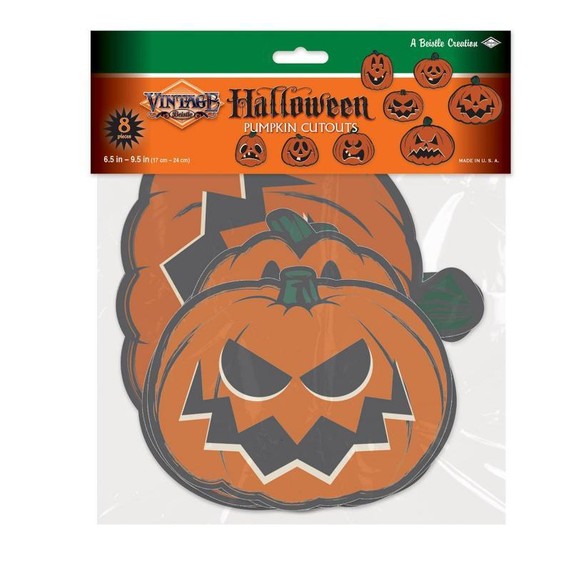 Vintage Halloween Pumpkin Cutouts (8/Pkg) by Beistle - Halloween Theme Decorations