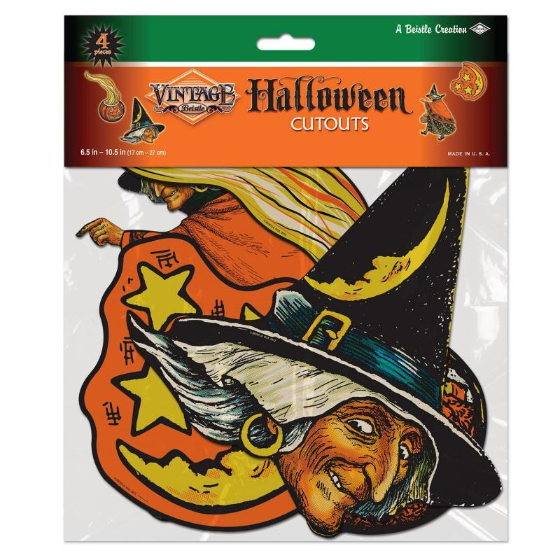 Vintage Halloween Cutouts (4/Pkg) by Beistle - Halloween Theme Decorations