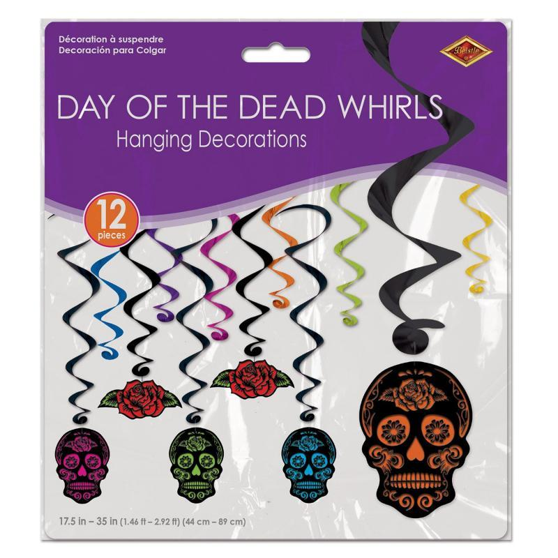 Day Of The Dead Whirls (12/Pkg) by Beistle - Day of the Dead Theme Decorations