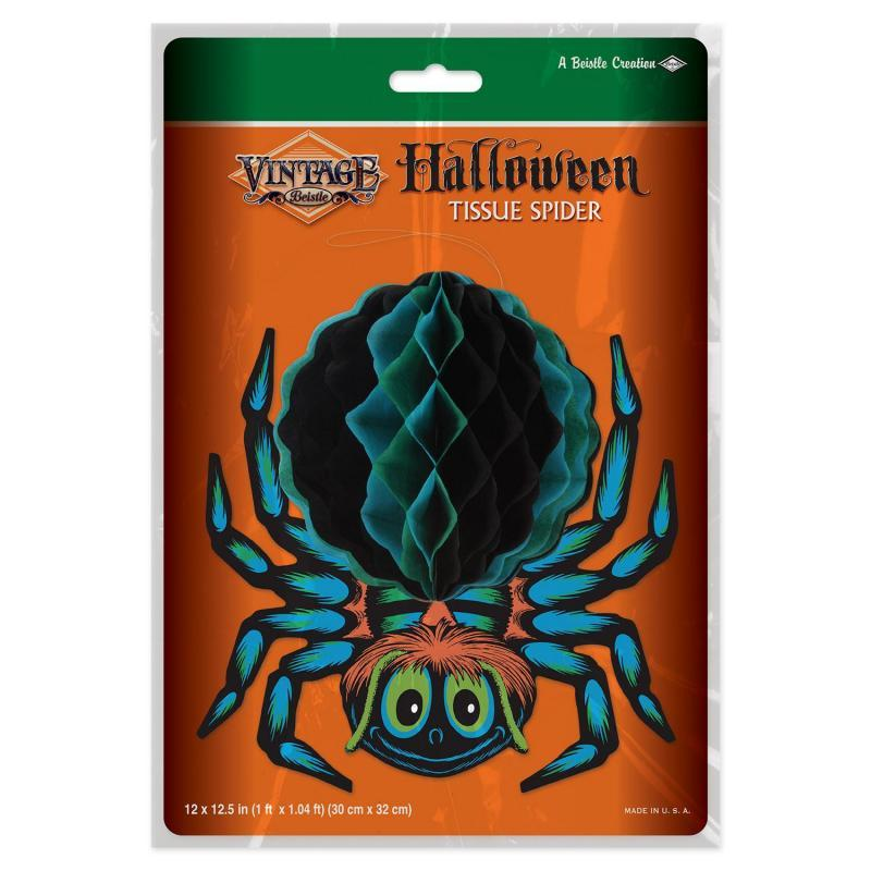 Vintage Halloween Tissue Spider by Beistle - Halloween Theme Decorations