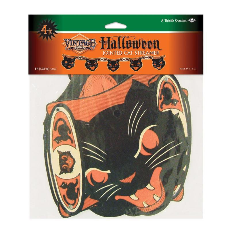 Vintage Halloween Jointed Cat Streamer by Beistle - Halloween Theme Decorations
