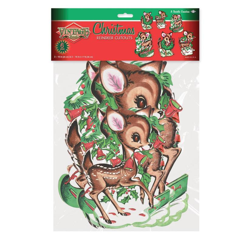 Vintage Christmas Reindeer Cutouts (6/Pkg) by Beistle - Winter/Christmas Theme Decorations