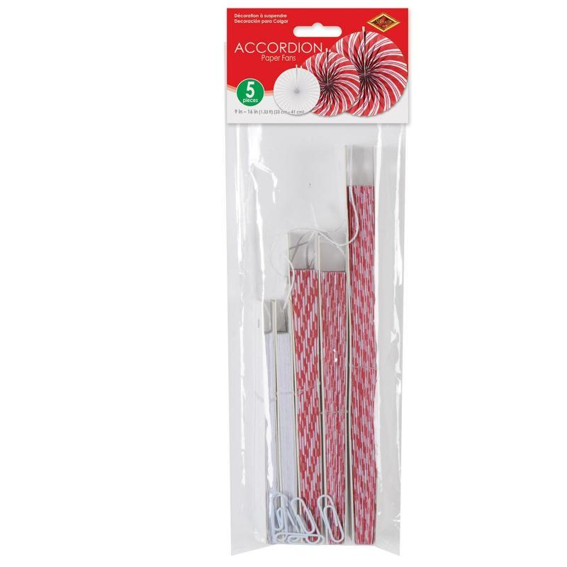 Peppermint Accordion Paper Fans (5/Pkg) by Beistle - Winter and Christmas Theme Decorations