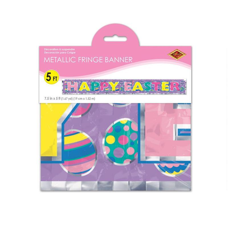 Metallic Happy Easter Fringe Banner by Beistle - Easter Theme Decorations