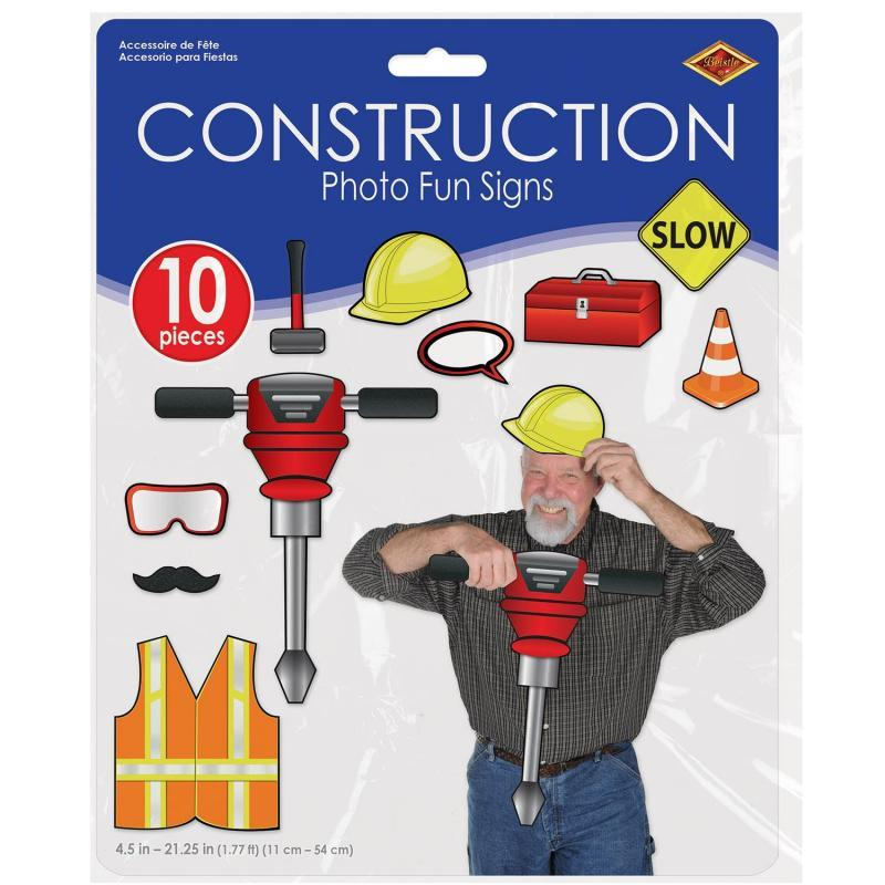 Construction Photo Fun Signs (10/Pkg) by Beistle - Construction Theme Decorations