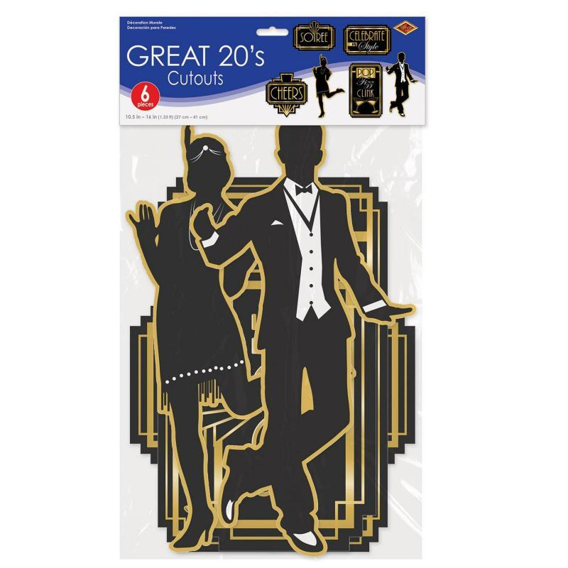 Great 20's Cutouts (6/Pkg) by Beistle - 20's Theme Decorations