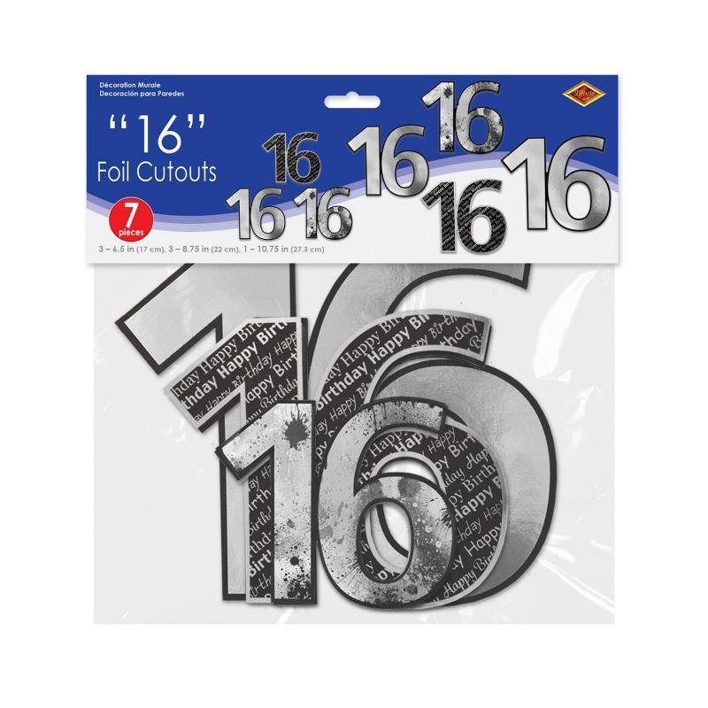 16 Foil Cutouts (7/Pkg) by Beistle - Sweet 16 Birthday Decorations
