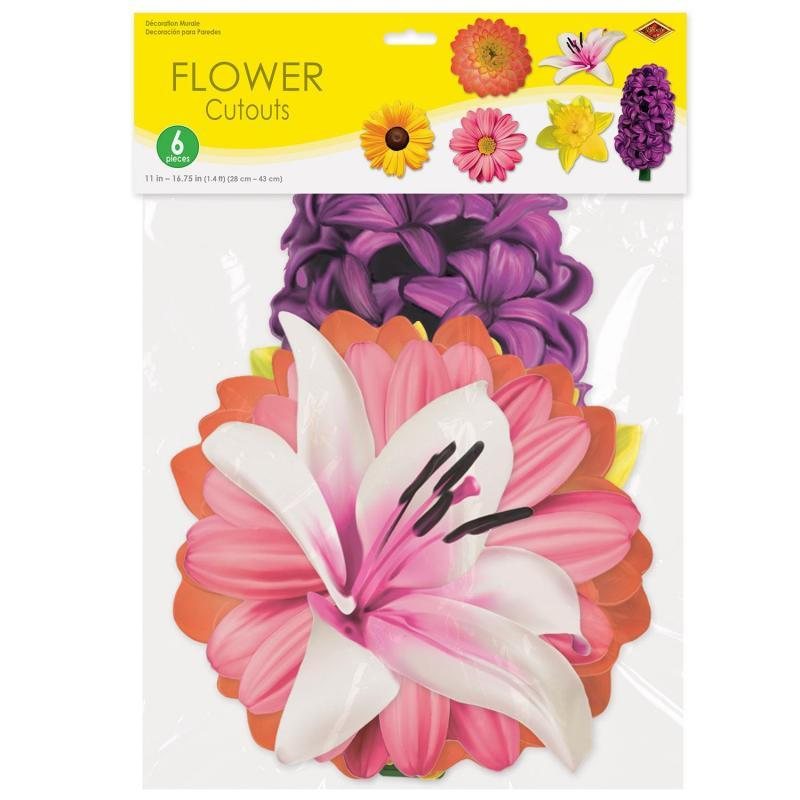 Flower Cutouts (6/Pkg) by Beistle - Spring/Summer Theme Decorations