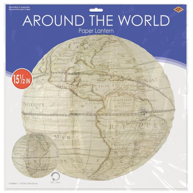 Around The World Paper Lantern by Beistle - Around The World Theme Decorations