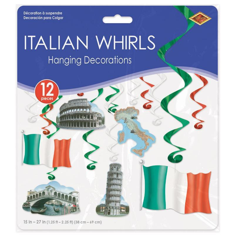 Italian Whirls (12/Pkg) by Beistle - Italian Theme Decorations