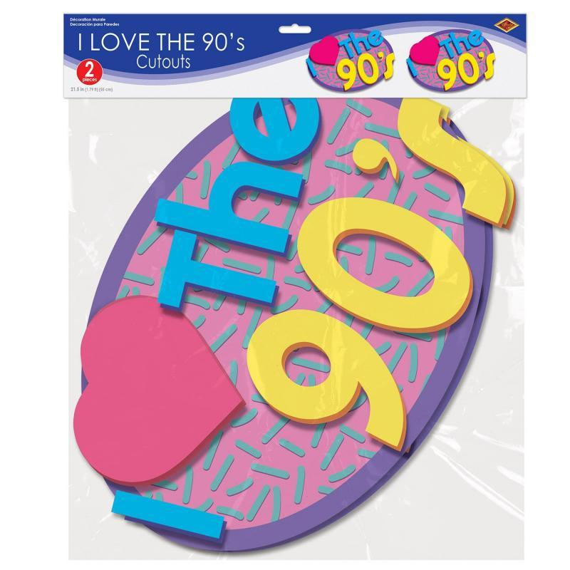 I Love The 90's Cutouts (2/Pkg) by Beistle - 90's Theme Decorations