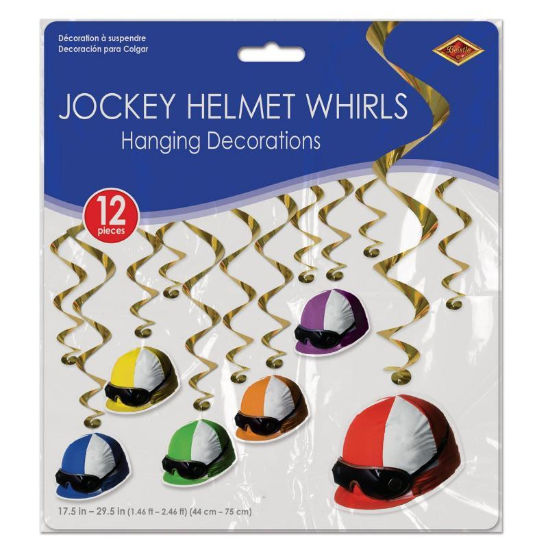 Jockey Helmet Whirls (12/Pkg) by Beistle - Derby Day Theme Decorations