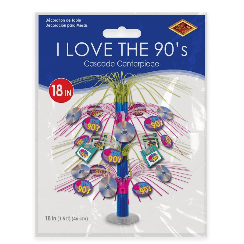 I Love The 90's Cascade Centerpiece by Beistle - 90's Theme Decorations