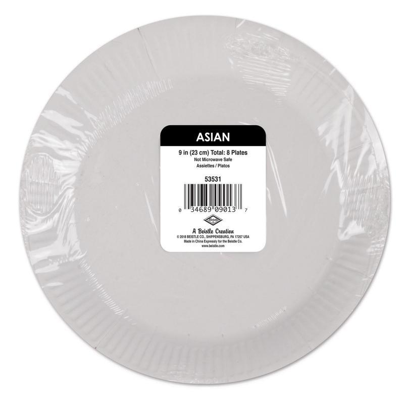 Asian Plates (8/Pkg) by Beistle - Asian Theme Decorations