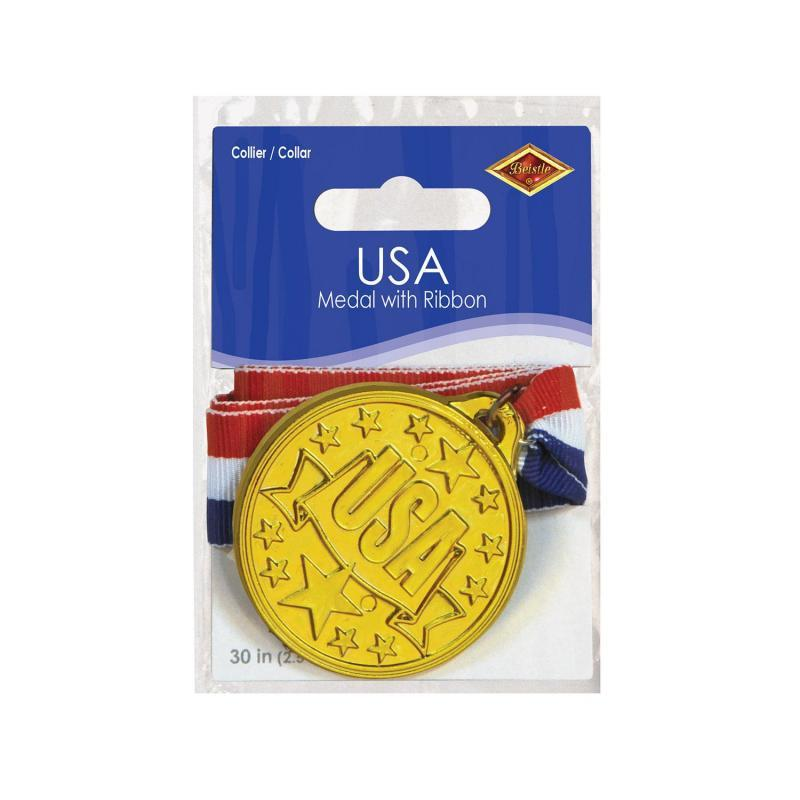 USA Medal w/Ribbon by Beistle - Sports Theme Decorations