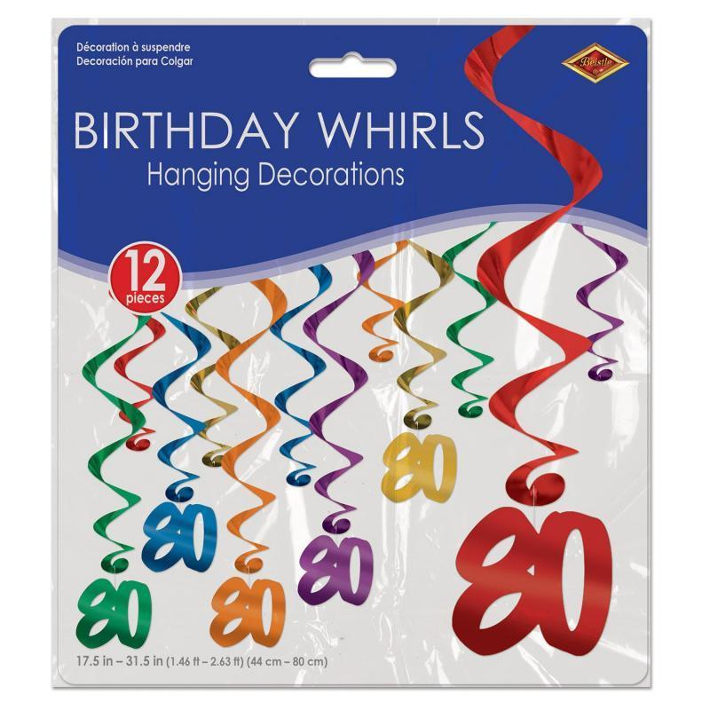 80 Whirls (12/Pkg) by Beistle - 80th Birthday Party Decorations