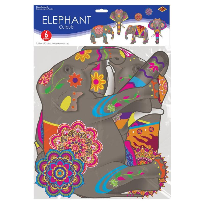 Elephant Cutouts (6/Pkg) by Beistle - Arabian Nights Theme Decorations