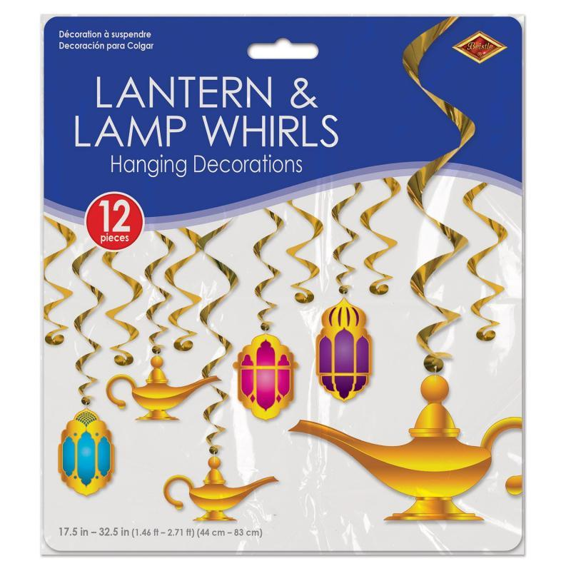 Lantern & Lamp Whirls (12/Pkg) by Beistle - Arabian Nights Theme Decorations
