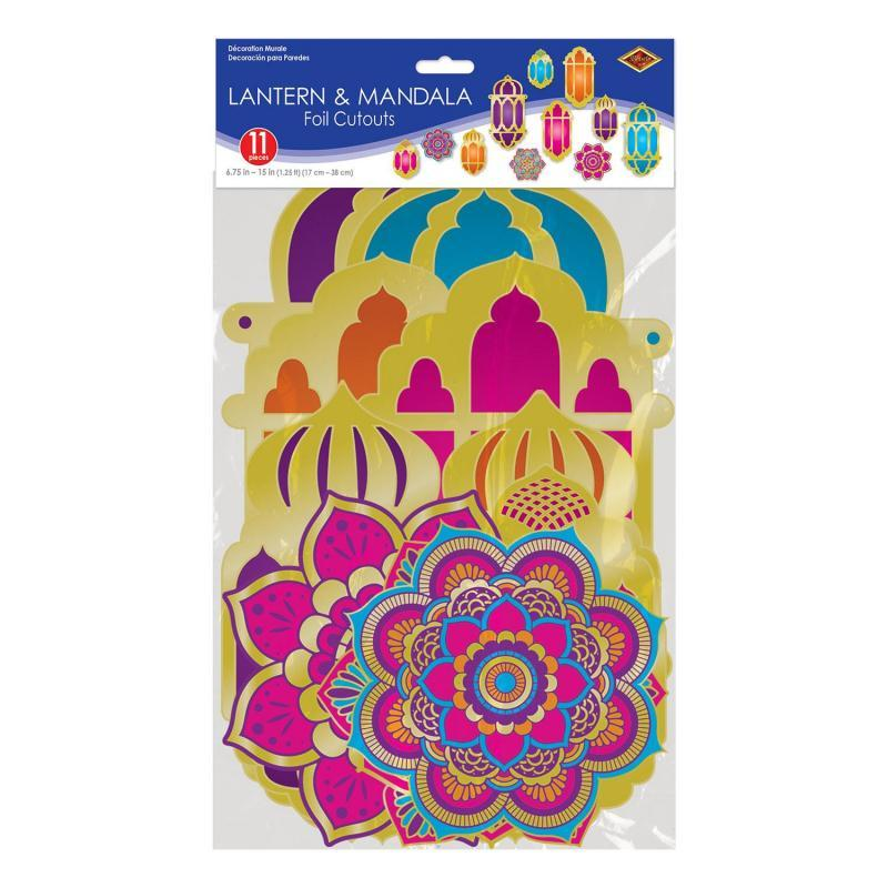 Foil Lantern & Mandala Cutouts (11/Pkg) by Beistle - Arabian Nights Theme Decorations