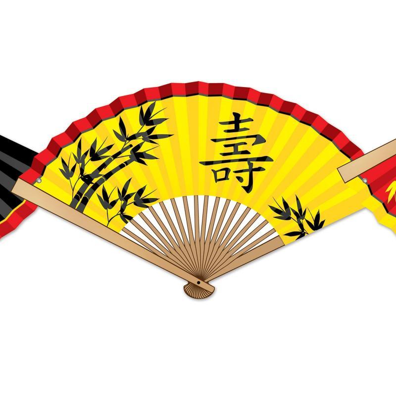 Asian Paper Fan Streamer by Beistle - Asian Theme Decorations