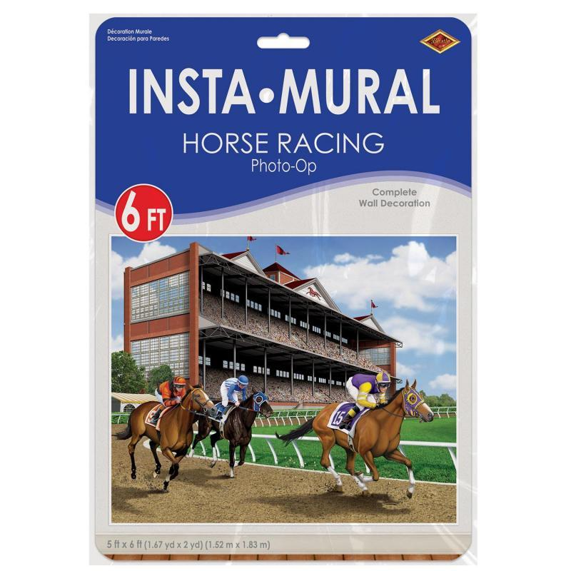 Horse Racing Insta-Mural Photo Op by Beistle - Derby Day Theme Decorations