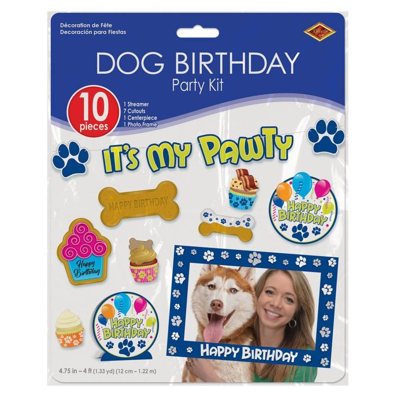 Dog Birthday Party Kit (10/Pkg) by Beistle - Pets Theme Decorations