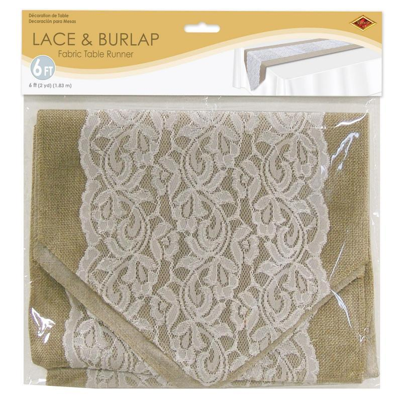 Lace & Burlap Table Runner by Beistle - Wedding Theme Decorations
