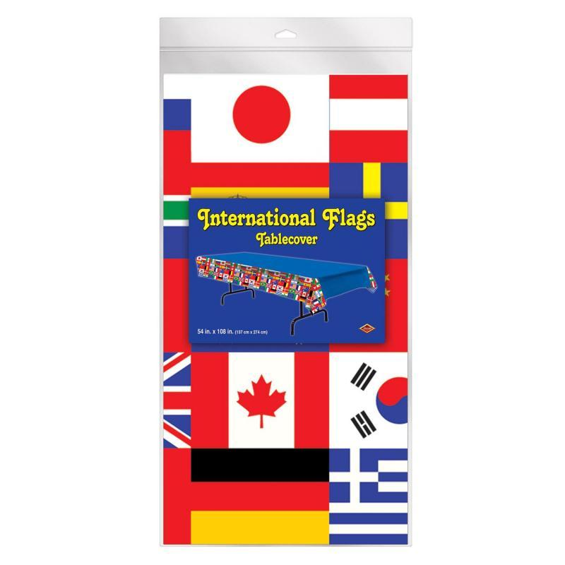 International Flag Tablecover by Beistle - International Theme Decorations