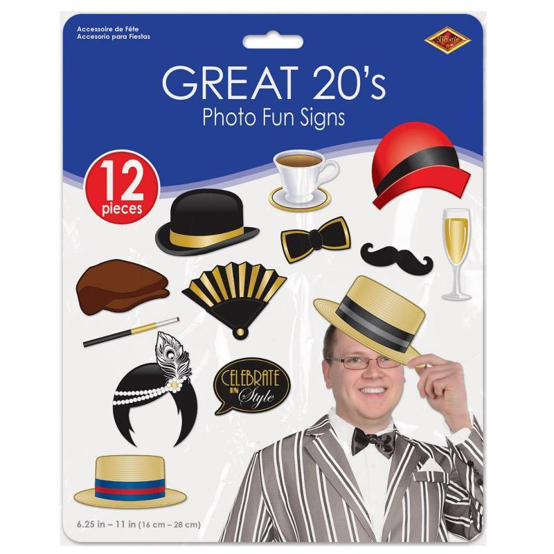 Great 20's Photo Fun Signs (12/Pkg) by Beistle - 20's Theme Decorations